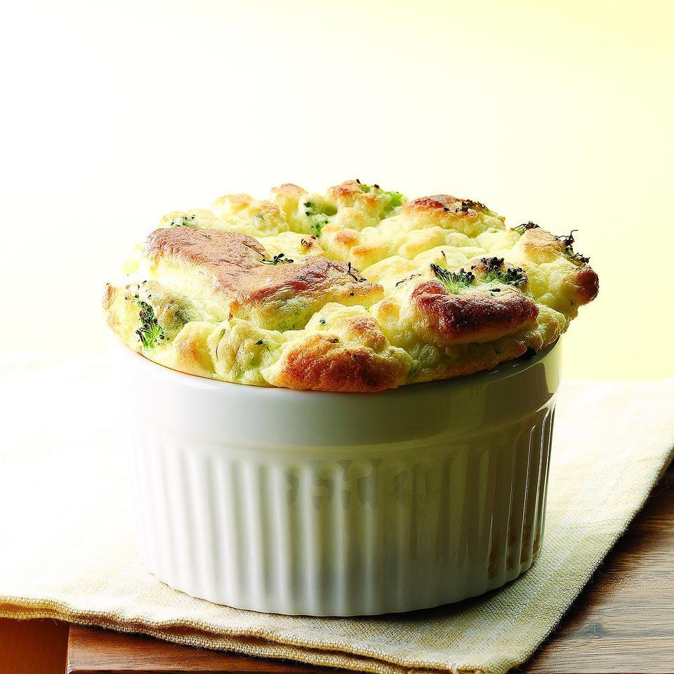 Broccoli & Goat Cheese Souffle EatingWell Test Kitchen