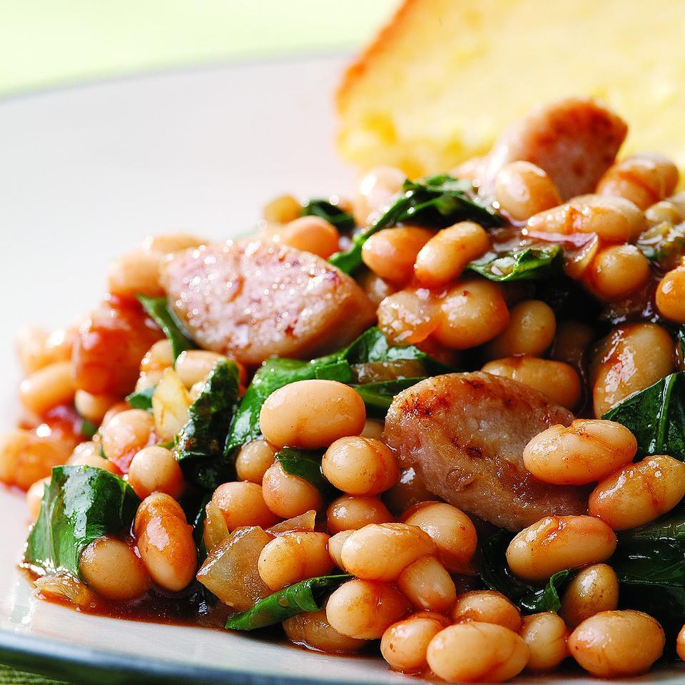 BBQ Baked Beans & Sausage EatingWell Test Kitchen