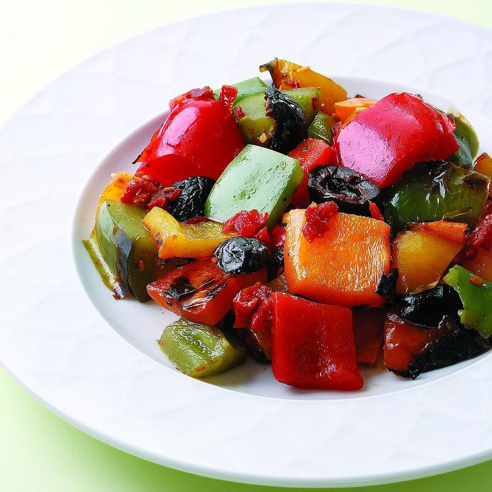 Toss a colorful mix of grilled bell peppers with briny olives, sweet sun-dried tomatoes and balsamic vinaigrette for a lovely side dish. Or spread crostini with goat cheese and top it with this salad for an easy summer appetizer.Source: EatingWell Magazine, July/August 2008