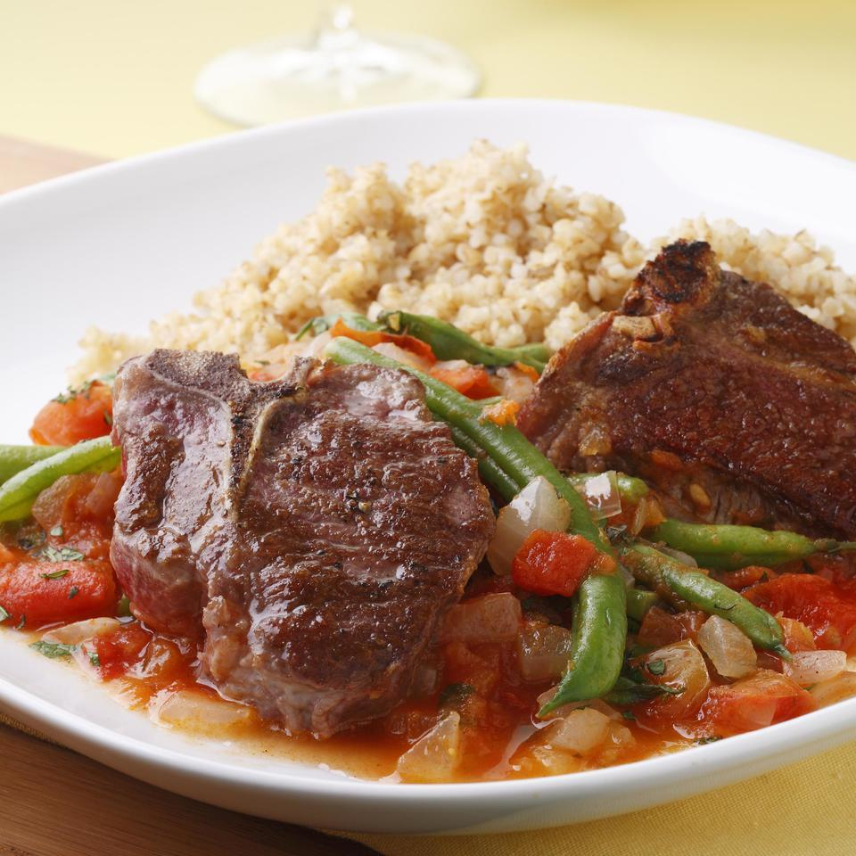 Lamb Chops with Lebanese Green Beans EatingWell Test Kitchen