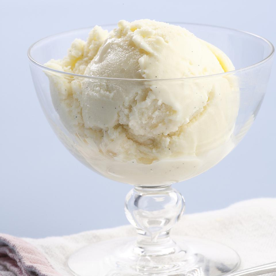 Here's a simple recipe for low-fat vanilla ice cream. Our version has all the richness you'll need but about 90 fewer calories than store-bought premium ice cream and a whopping 15 grams less total fat and 10 grams less saturated fat per serving. Source: EatingWell Magazine, July/August 2008