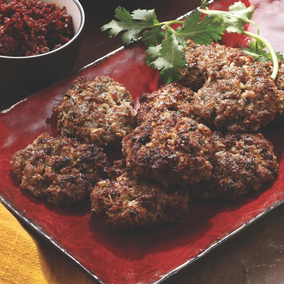 Kefta, seasoned ground meat, is one of Morocco's most popular street foods. Traditionally, kefta is washed down with a glass of sweet mint tea. It's delicious served with ratatouille. Source: EatingWell Magazine, September/October 2008
