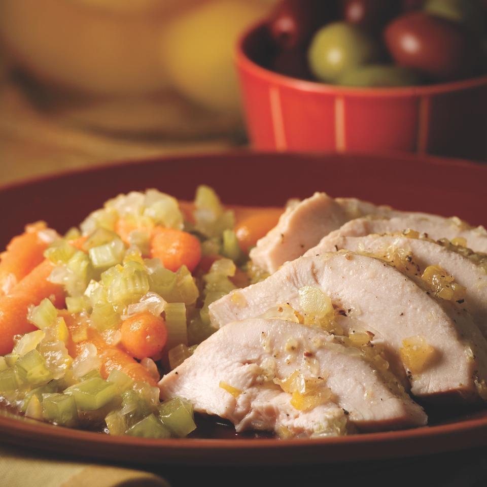 Roast Chicken with Preserved Lemon & Braised Vegetables Kitty Morse
