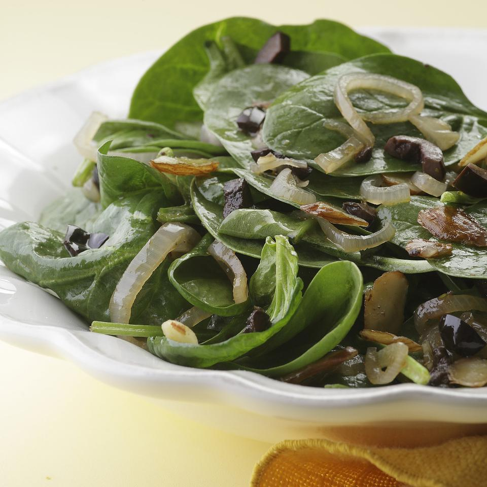 Wilted Spinach Salad with Sherry Vinaigrette EatingWell Test Kitchen