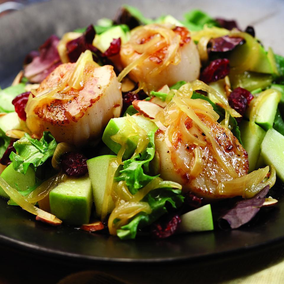 Curry complements seared scallops, tart apples and sweet dried cranberries while toasted almonds add crunch in this quick fall dinner salad. Serve with toasted whole-wheat baguette and a glass of sauvignon blanc. Source: EatingWell Magazine, September/October 2008