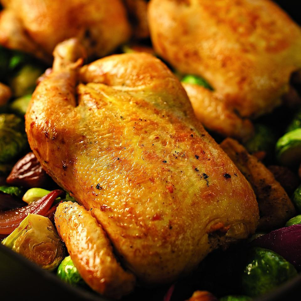 Game Hens with Brussels Sprouts & Chestnuts EatingWell Test Kitchen