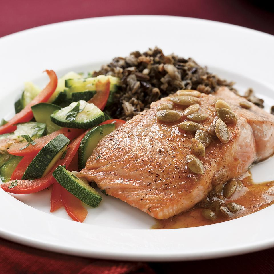 Salmon with Pepita-Lime Butter EatingWell Test Kitchen