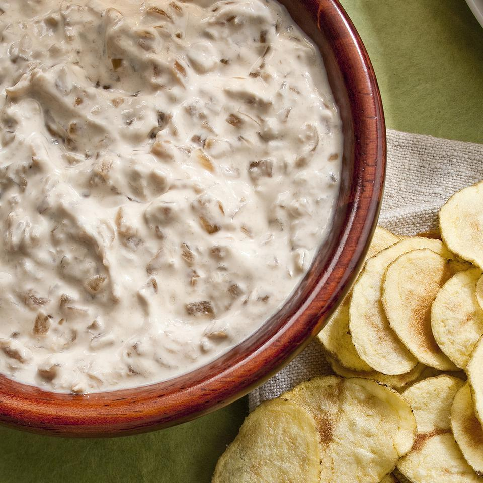 In our homemade version of French onion dip, we simmer chopped onions in broth and use reduced-fat sour cream and yogurt for the familiar rich and creamy flavor. All told, our version has 12 grams less fat and nearly 50 percent less sodium per serving than the original.