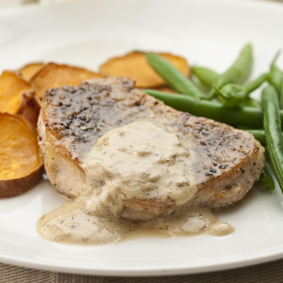 Pork Chops au Poivre EatingWell Test Kitchen