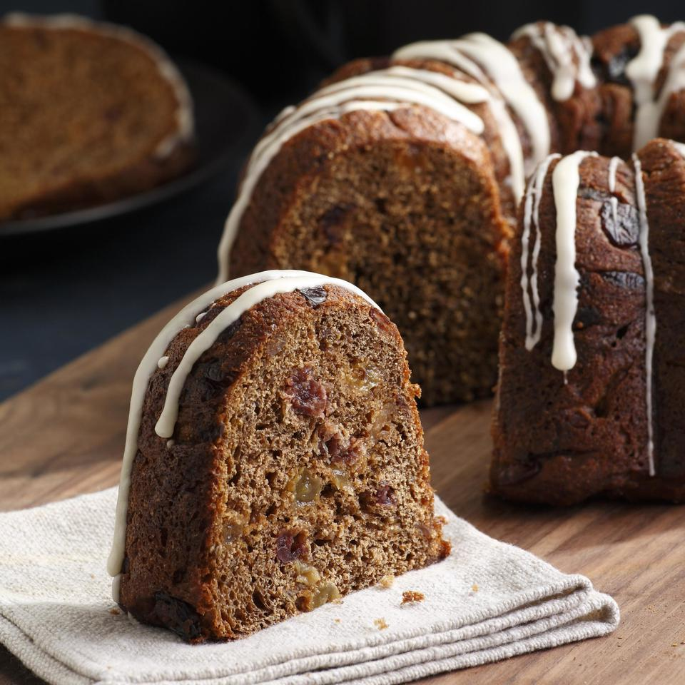 Orange zest, aniseed and allspice, along with honey, lend this full-bodied fruit bread an intriguing flavor. The medley of three dried fruits gives it a chewy texture, eye-catching color and healthful fiber. For a festive look, the bread is baked in a tube pan: a 10-cup Bundt, Kugelhopf or other pan with a center tube and decorative shape is ideal. This bread is nice as a snack or, when drizzled with the sugar glaze, as a dessert or fine companion to tea. Recipe by Nancy Baggett for EatingWell. Source: EatingWell Magazine, January/February 2009