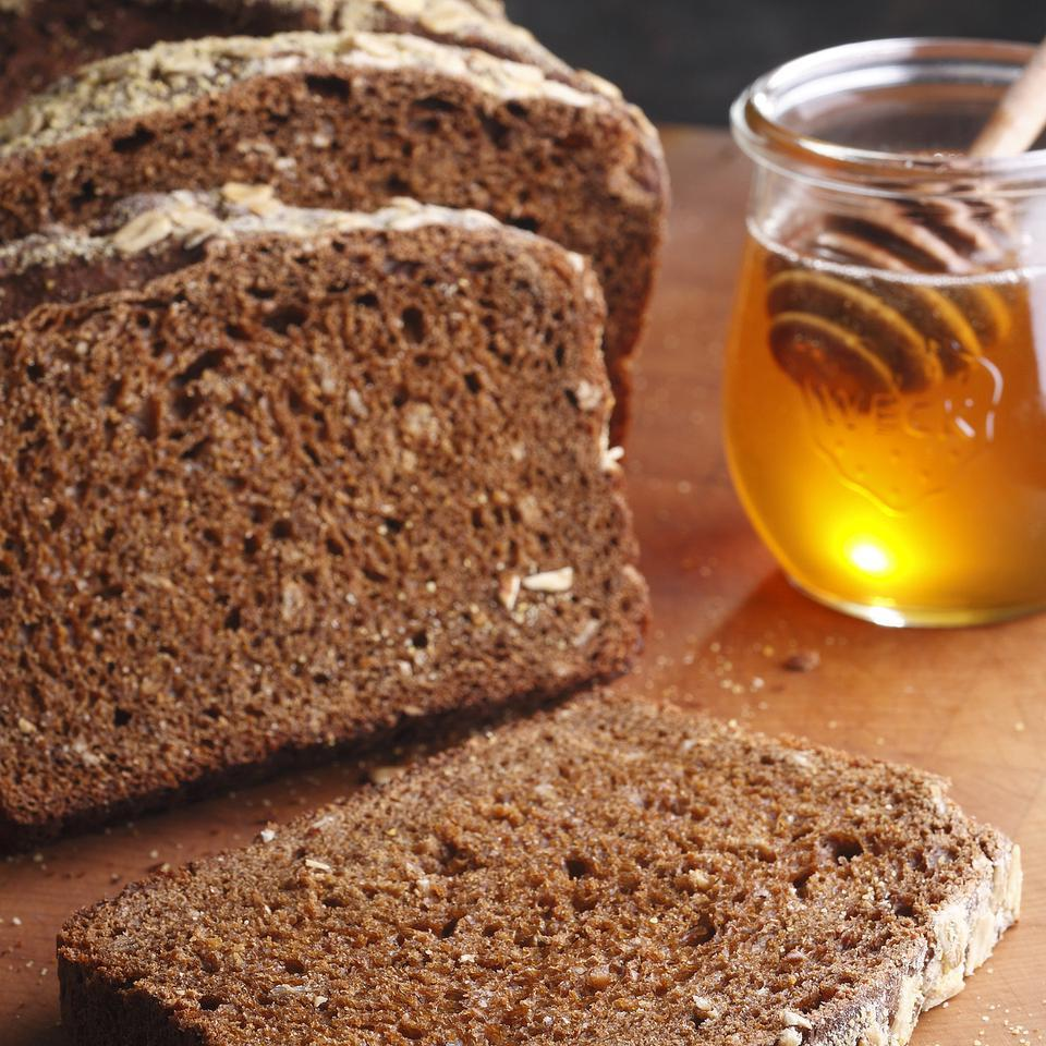"The flavor of this hearty, home-style multigrain bread is reminiscent of nice, ""bran-y"" bran muffins. It's great for toasting, making sandwiches or eating as is. Recipe by Nancy Baggett for EatingWell."