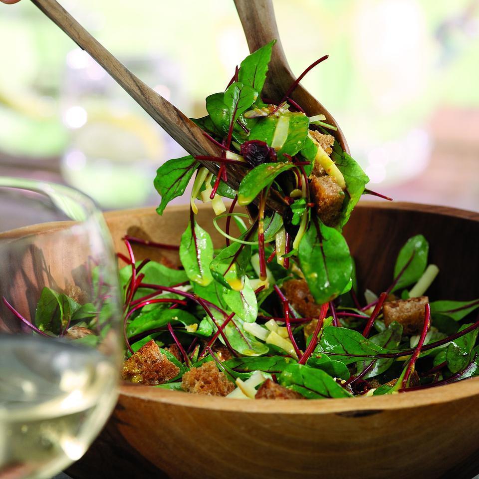 Baby Beet Greens with Spicy Mediterranean Vinaigrette Ellen Ecker Ogden