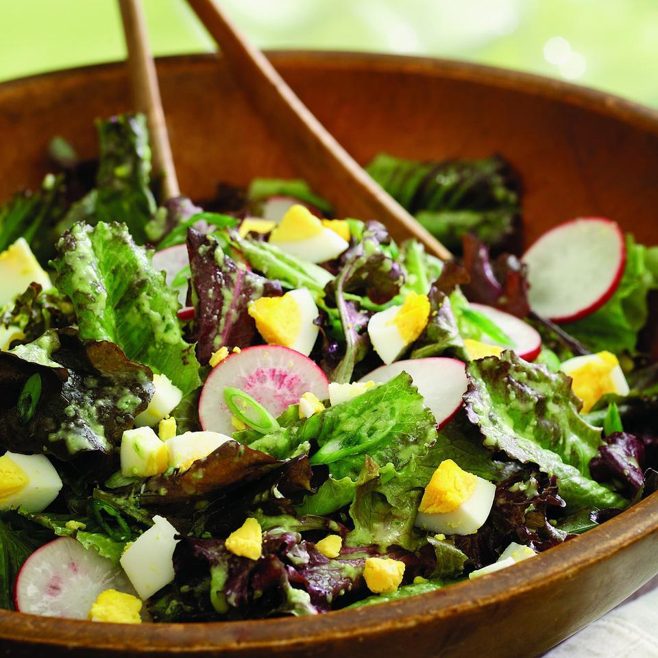 Oak leaf and baby romaine lettuces are so tender they're best eaten straight from the garden or at least within a day or two of picking. Mild and delicate, they pair wonderfully with peppery radishes and chopped hard-boiled eggs in this easy salad.