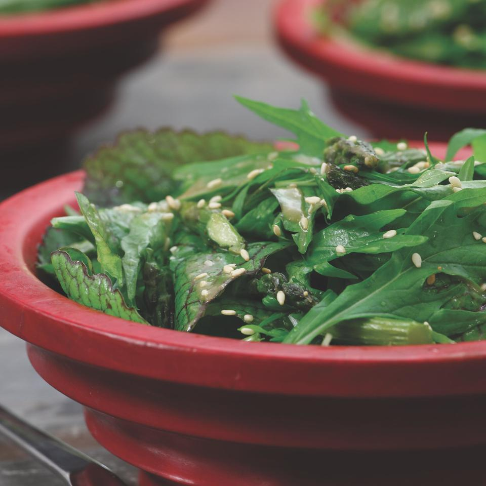 Spicy Green Salad with Soy & Roasted Garlic Dressing Ellen Ecker Ogden