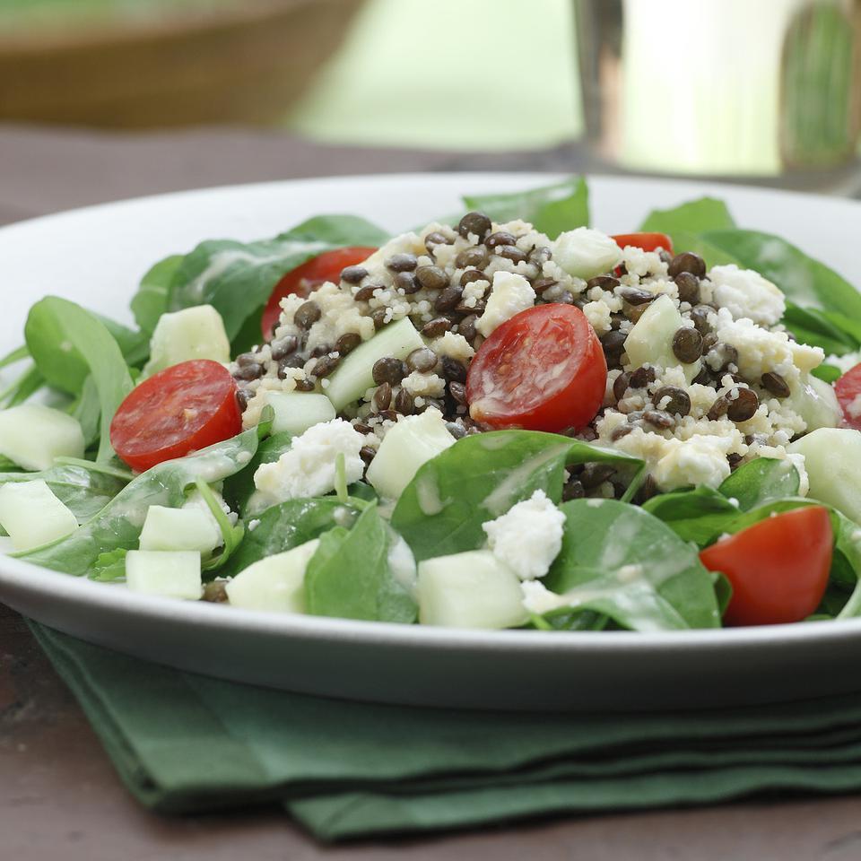Couscous, Lentil & Arugula Salad with Garlic-Dijon Vinaigrette Ellen Ecker Ogden