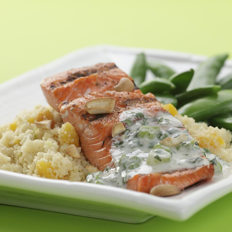 Cashew Salmon with Apricot Couscous EatingWell Test Kitchen