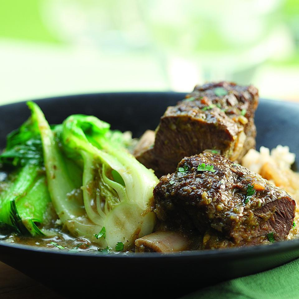 Red Curry Bison Short Ribs with Baby Bok Choy Bruce Aidells