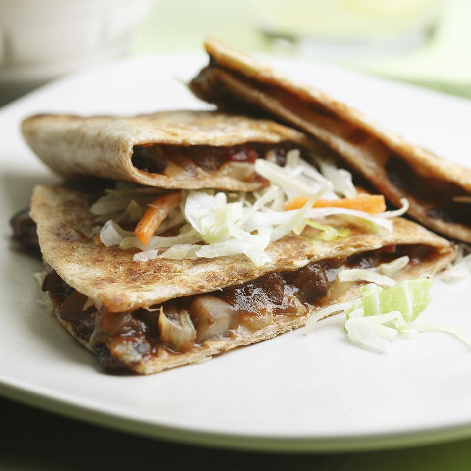 Barbecue Portobello Quesadillas for Two EatingWell Test Kitchen