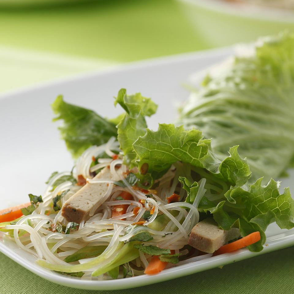Vietnamese Tofu-Noodle Lettuce Wraps EatingWell Test Kitchen