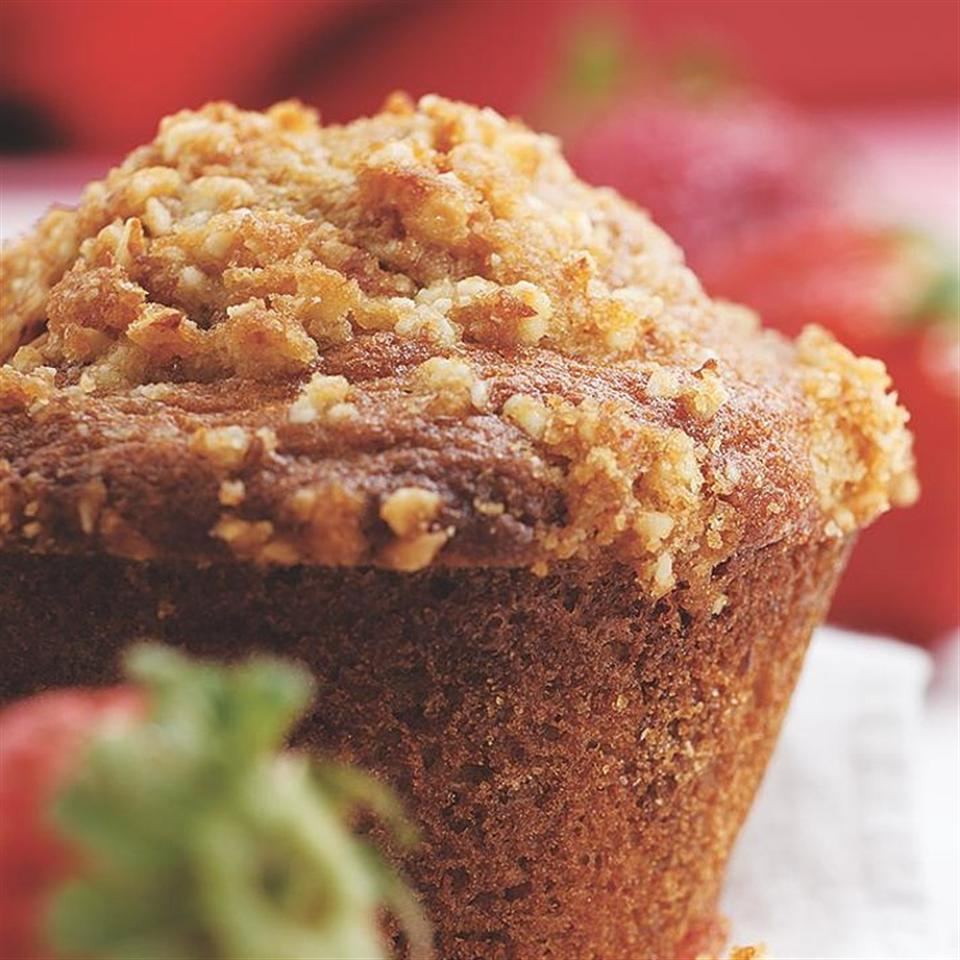 We love the combination of strawberry and orange in this sweet breakfast muffin with a streusel topping. For a less conventional (but equally delicious) twist, try the basil variation. The hint of basil complements the fruity berries wonderfully.