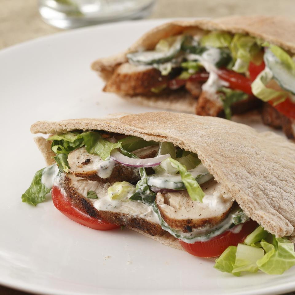 Make a perfect summer supper: grill spice-rubbed chicken breasts and tuck them into whole-wheat pitas along with fresh vegetables and a tangy yogurt sauce. Serve with: Grilled vegetables and a pilsner. Source: EatingWell Magazine, May/June 2009