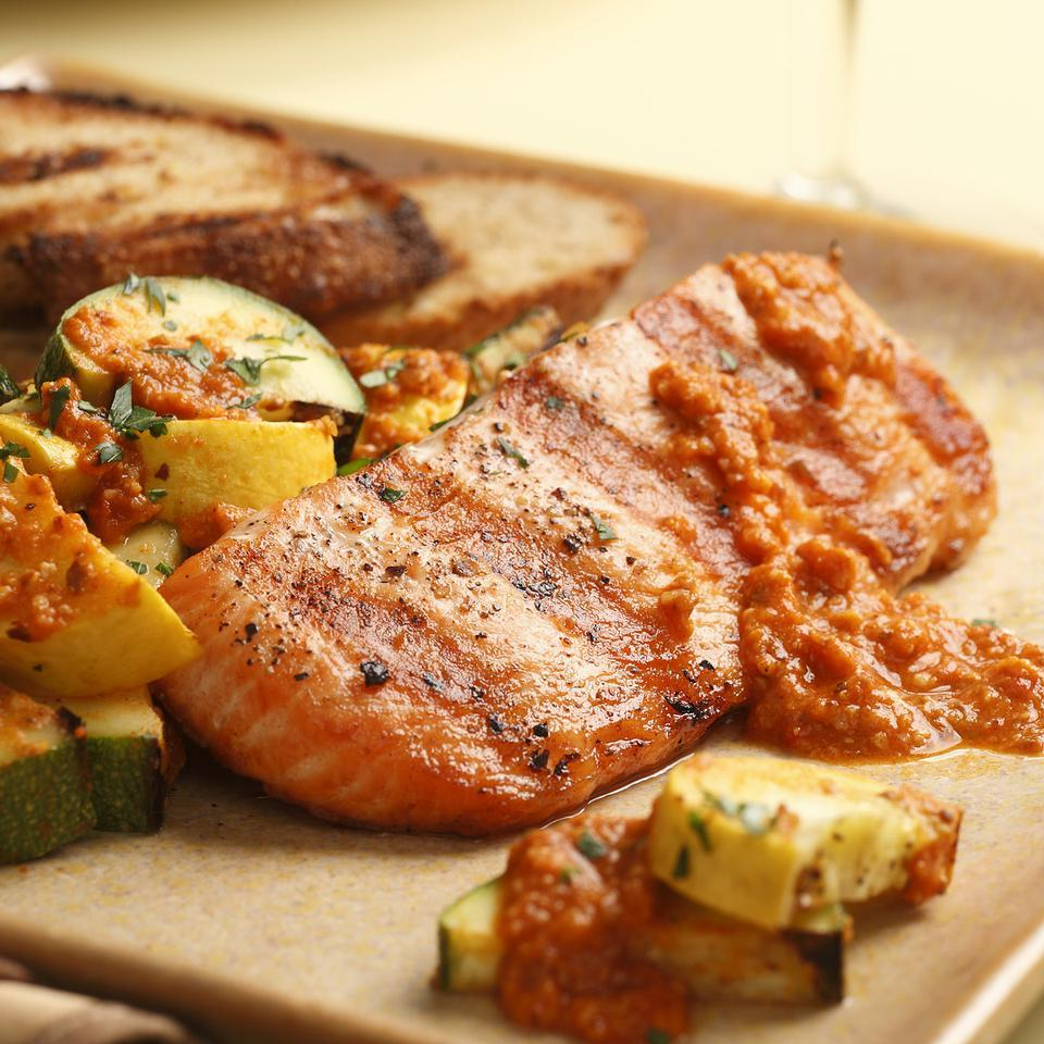 Grilled Salmon & Zucchini with Red Pepper Sauce EatingWell Test Kitchen
