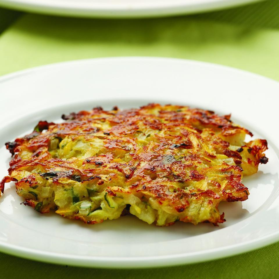 In this recipe we shred summer squash and use it like shredded potatoes to make tasty little pancakes flavored with Parmesan cheese and shallots. Source: EatingWell Magazine, July/August 2009