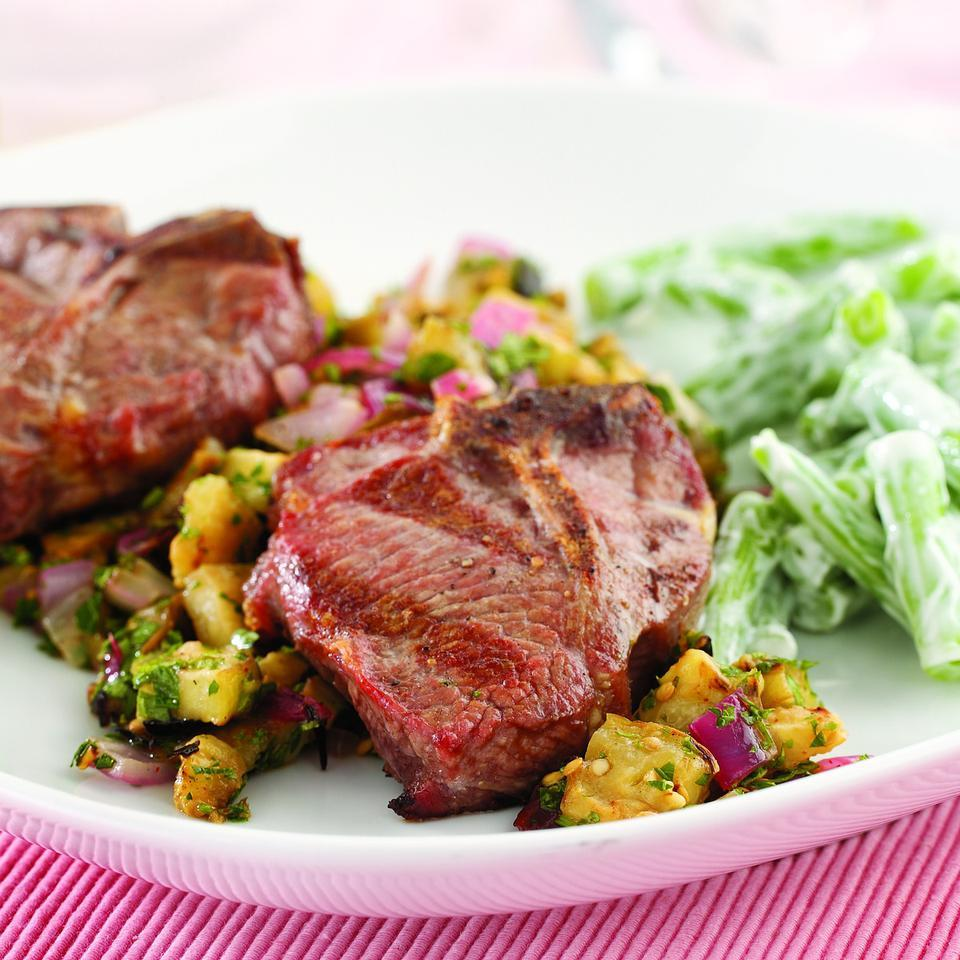 Grilled Lamb Chops with Eggplant Salad EatingWell Test Kitchen