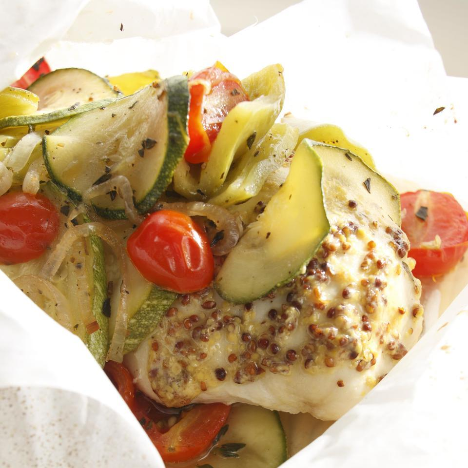 Chicken with Whole-Grain Mustard & Zucchini in Packets Matthew G. Kadey