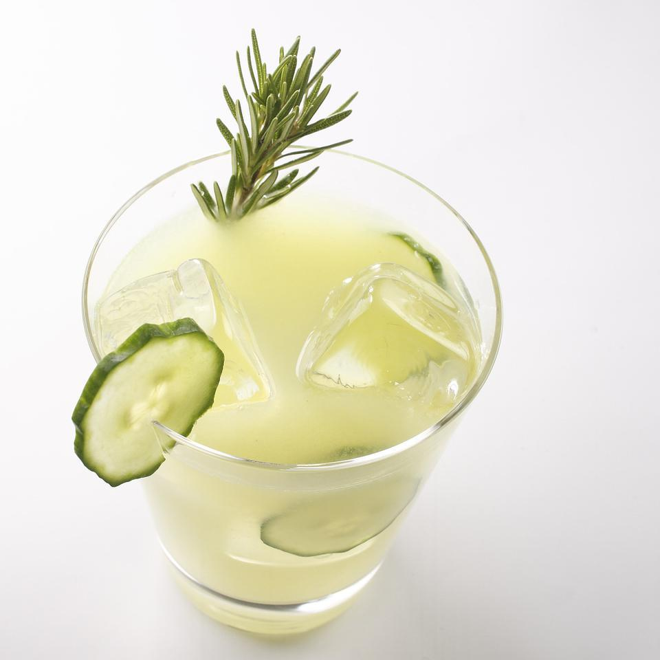 Turn fresh rosemary, cucumbers and lemons into grown-up lemonade that will keep you cool on a hot day. Source: EatingWell Magazine, July/August 2009
