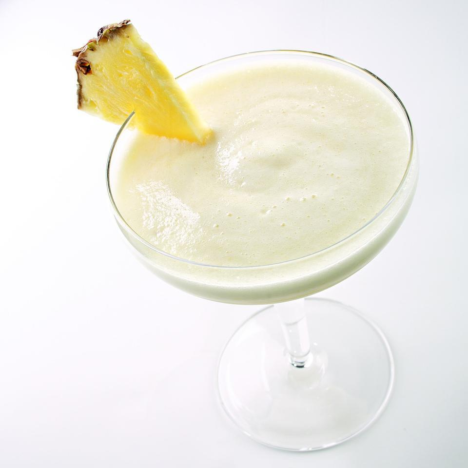 This lower-calorie, nonalcoholic version of pina colada uses ripe bananas blended with fresh pineapple and coconut milk. Serve it in festive tropical-drink glasses.Source: EatingWell Magazine, July/August 2009