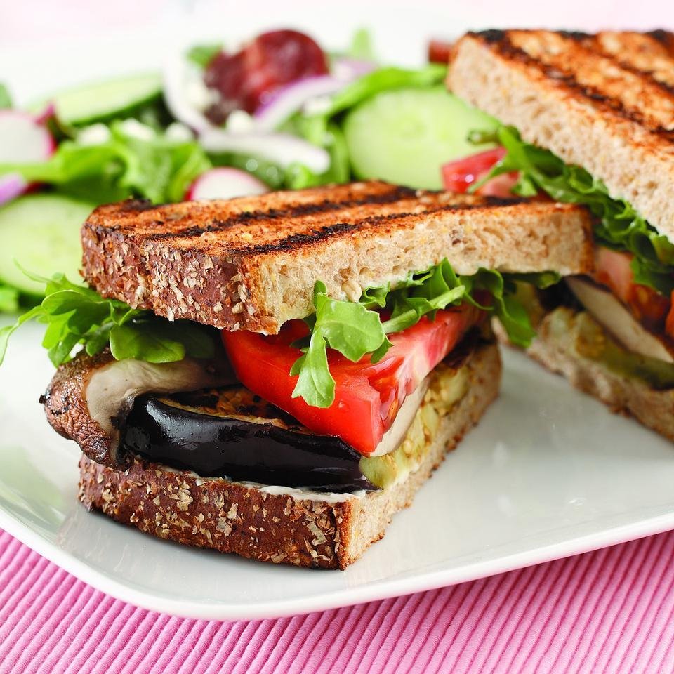 Grilled Eggplant & Portobello Sandwich EatingWell Test Kitchen