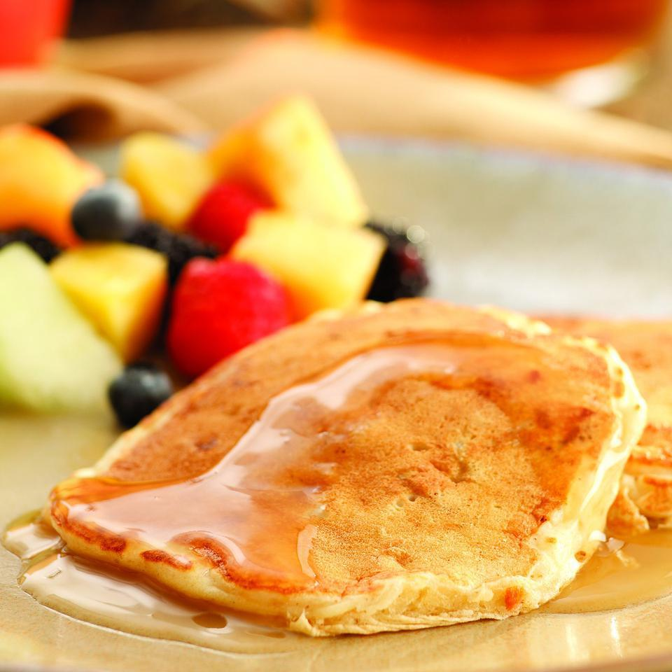 Apple-Bacon Pancakes with Cider Syrup EatingWell Test Kitchen