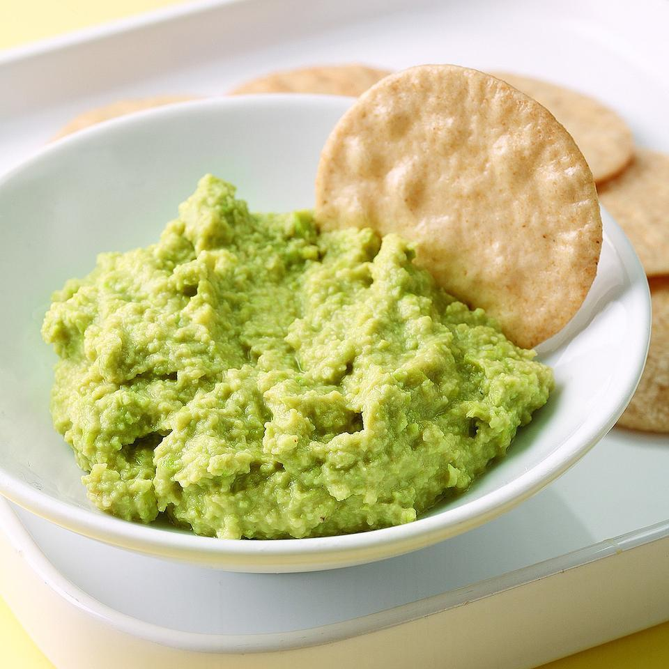 Think of this dip as an Asian version of hummus, made with edamame, ginger and soy. Serve with rice crackers and/or carrot sticks. Source: EatingWell Magazine, September/October 2009