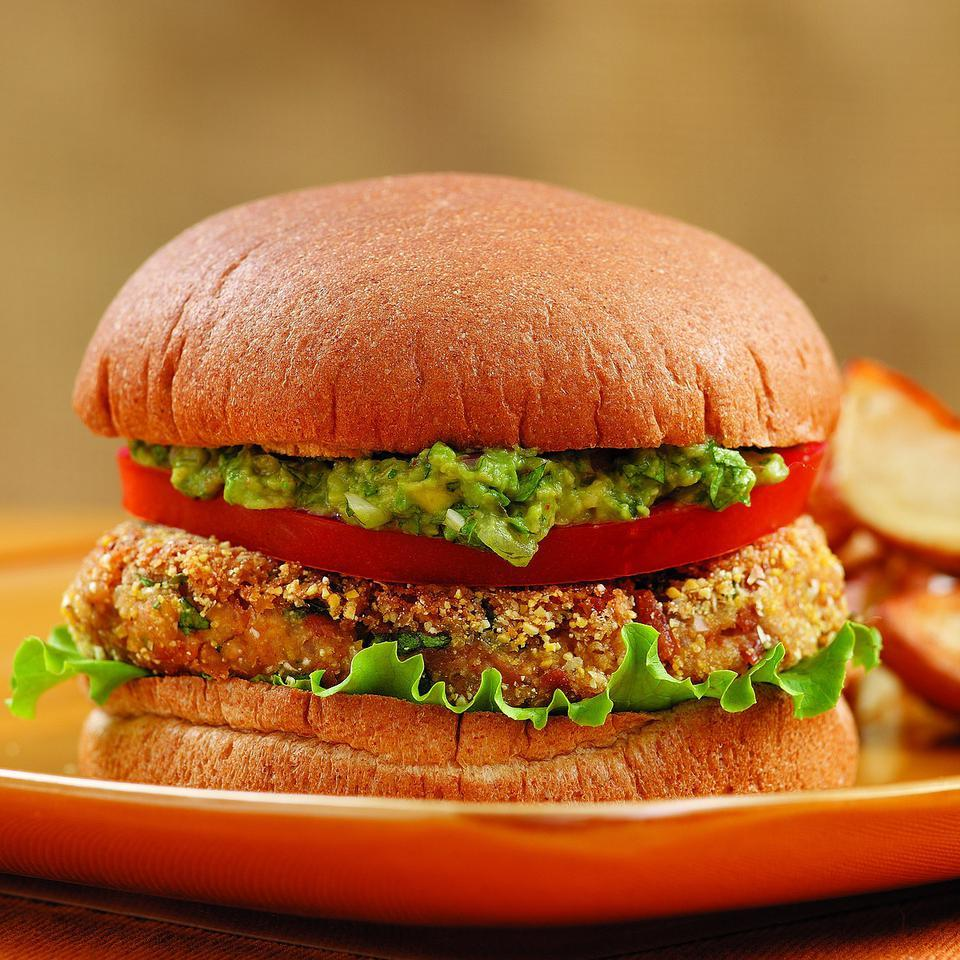 These bean burgers will even please carnivores. The cornmeal coating gives a pleasant crunch and smoked paprika, cumin, cilantro and guacamole add Southwestern flavor. Source: EatingWell Magazine, September/October 2009