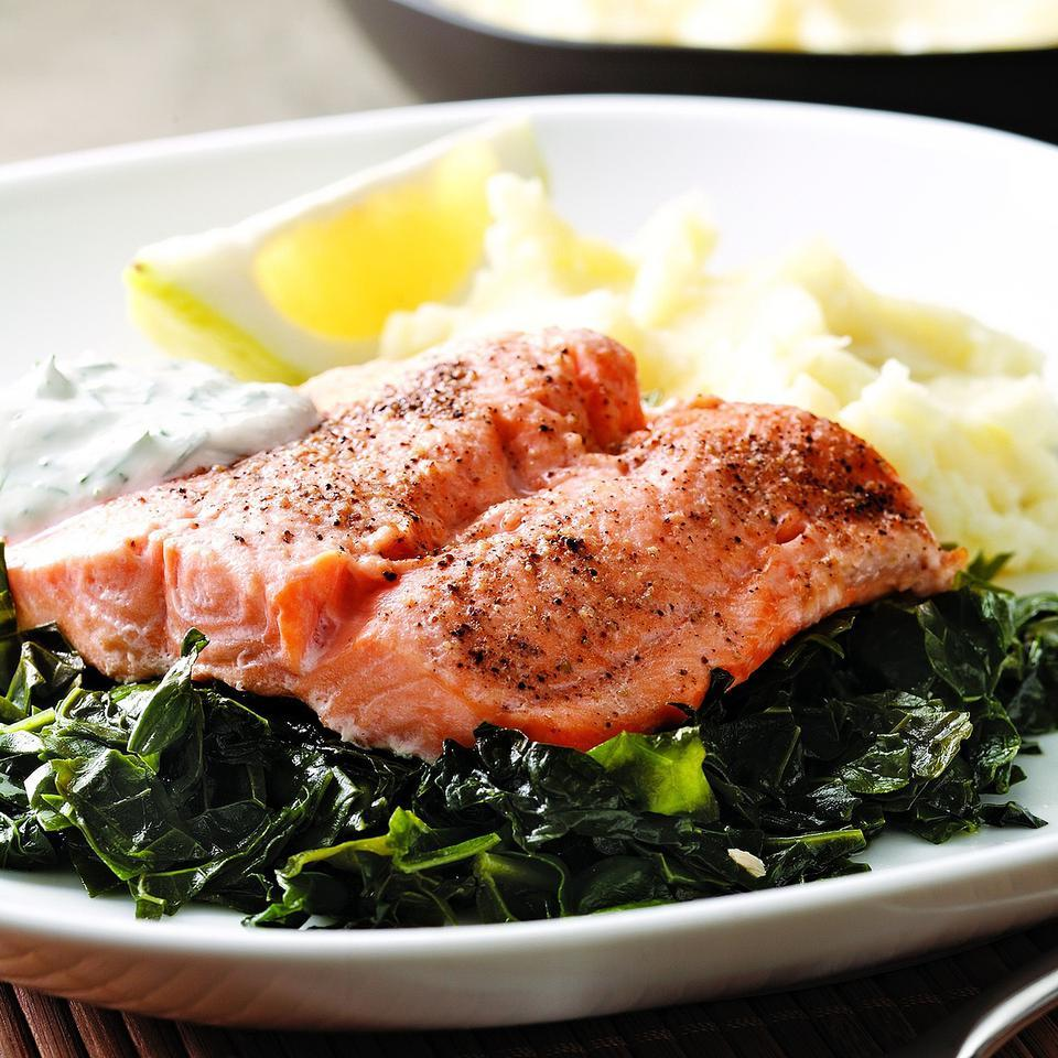 "Arctic char, related to salmon and trout, is sustainably farmed, making it a ""best choice"" for the environment. It has a mild flavor and cooks up quickly. We like the taste and texture of lacinato (aka dinosaur) kale in this dish. Serve with mashed potatoes."
