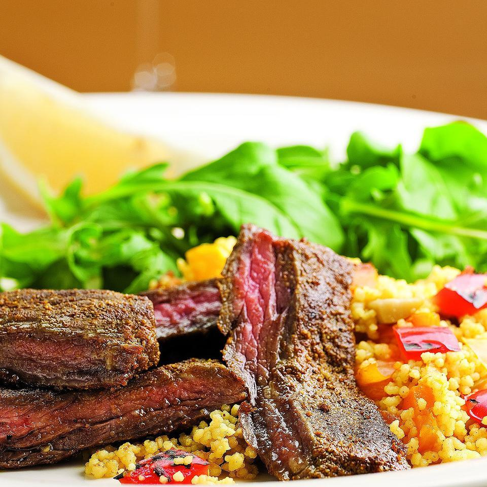 Moroccan Skirt Steak with Roasted Pepper Couscous EatingWell Test Kitchen