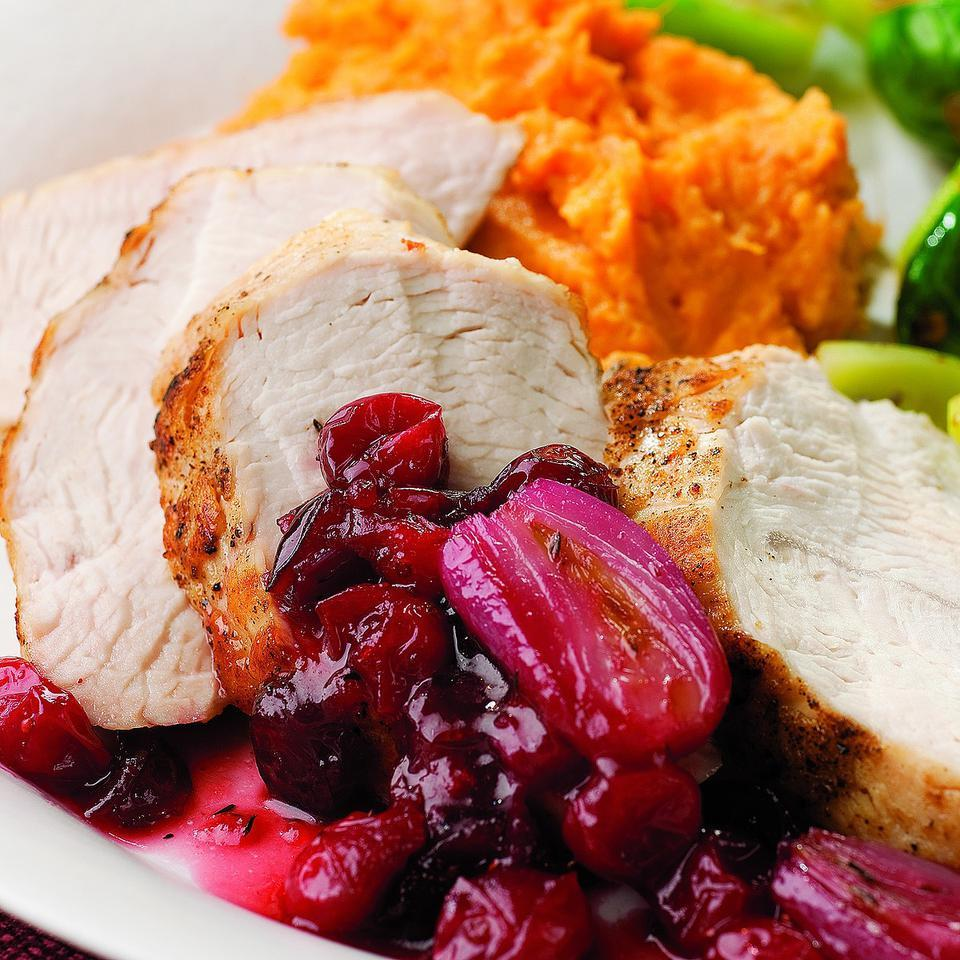 Turkey Tenderloin with Cranberry-Shallot Sauce EatingWell Test Kitchen
