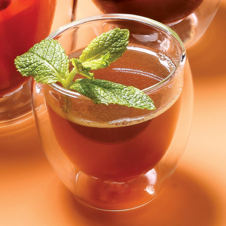 This warm mixture is a distinctive twist on the classic hot buttered rum.Source: EatingWell Magazine, November/December 2009