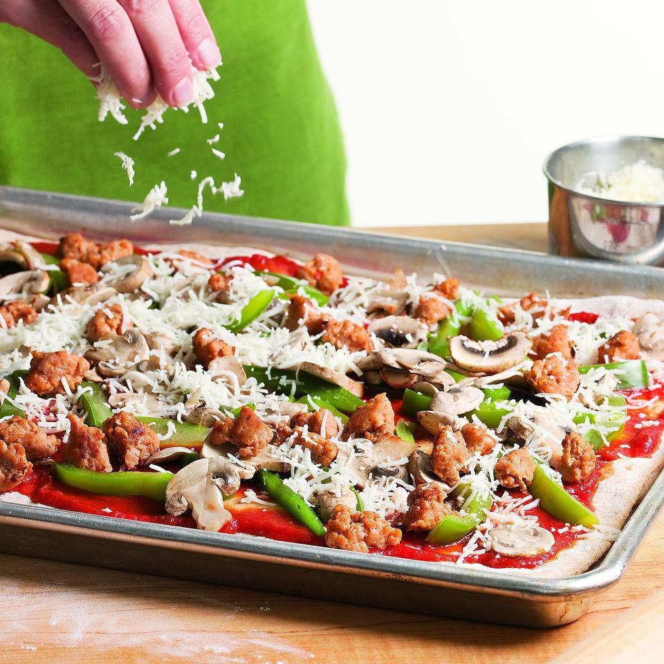Sausage, Pepper & Mushroom Pizza EatingWell Test Kitchen