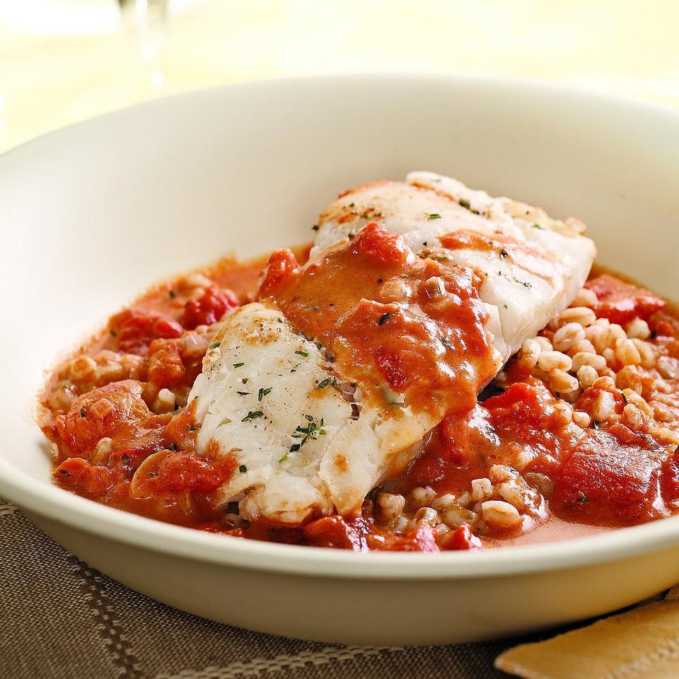 This silky tomato sauce with a touch of cream makes mild-flavored cod sing. Serve with: Farro or rice and a salad of mixed greens. Source: EatingWell Magazine, January/February 2010