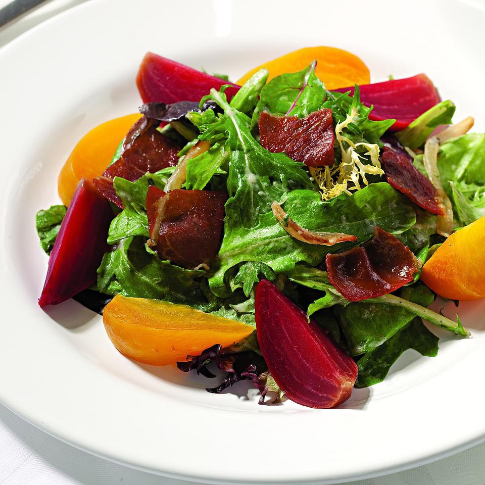 Spring Salad with Beets, Prosciutto & Creamy Onion Dressing Katie Webster
