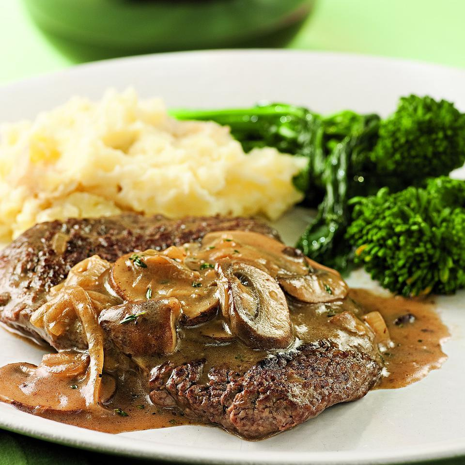 Cube steak is a tougher cut of meat pounded to make it tender. We like it because it cooks quickly and is inexpensive--perfect for a weeknight dinner. Look for presliced mushrooms to save even more time on prep. Serve with: Mashed potatoes and grilled broccoli rabe. Source: EatingWell Magazine, March/April 2010