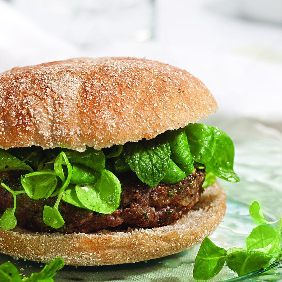 Lamb Burgers Topped with Mache Salad Katie Webster