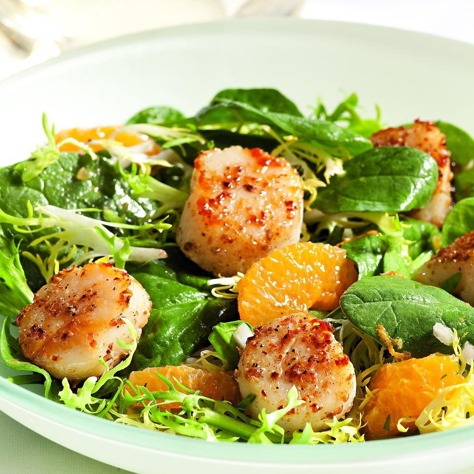 Spinach & Frisee Salad with Tangerines & Coriander-Crusted Scallops Katie Webster