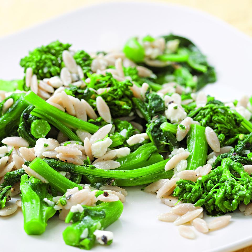 Lemon, oregano and feta add zing to broccoli rabe tossed with whole-wheat orzo. Source: EatingWell Magazine, March/April 2010