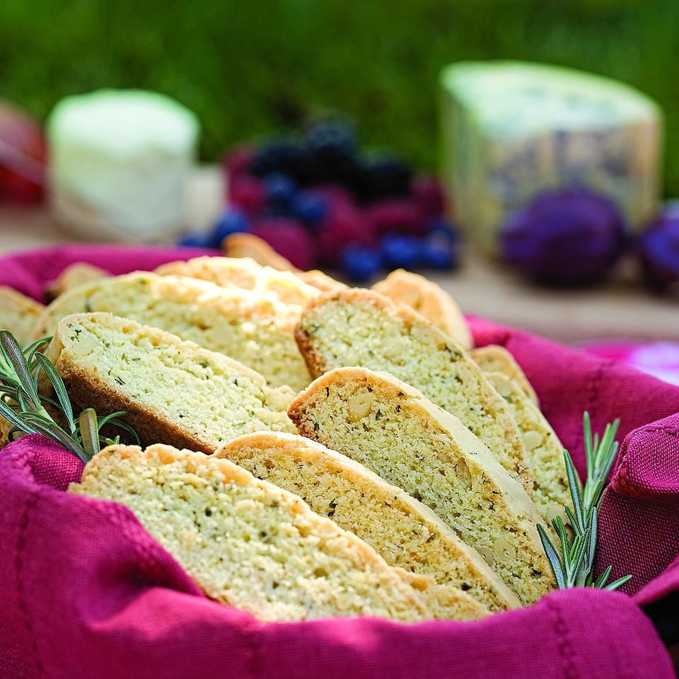 These amazing olive oil biscotti are studded with rich, buttery-tasting pine nuts. Try them alongside fruit sorbet, cheese or summer peaches. Source: EatingWell Magazine, July/August 2010