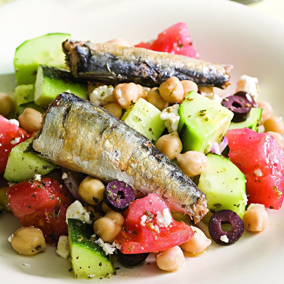 Greek Salad with Sardines for Two EatingWell Test Kitchen