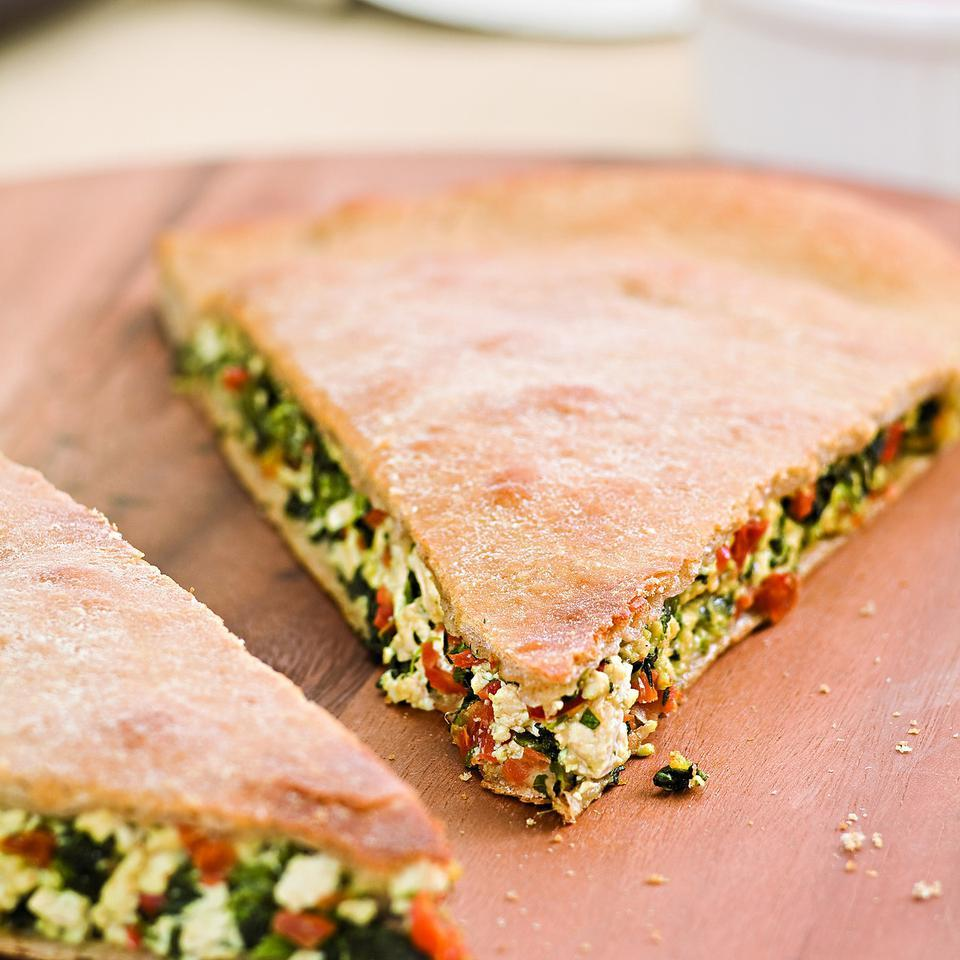 Spinach & Sun-Dried Tomato Stuffed Pizza EatingWell Test Kitchen