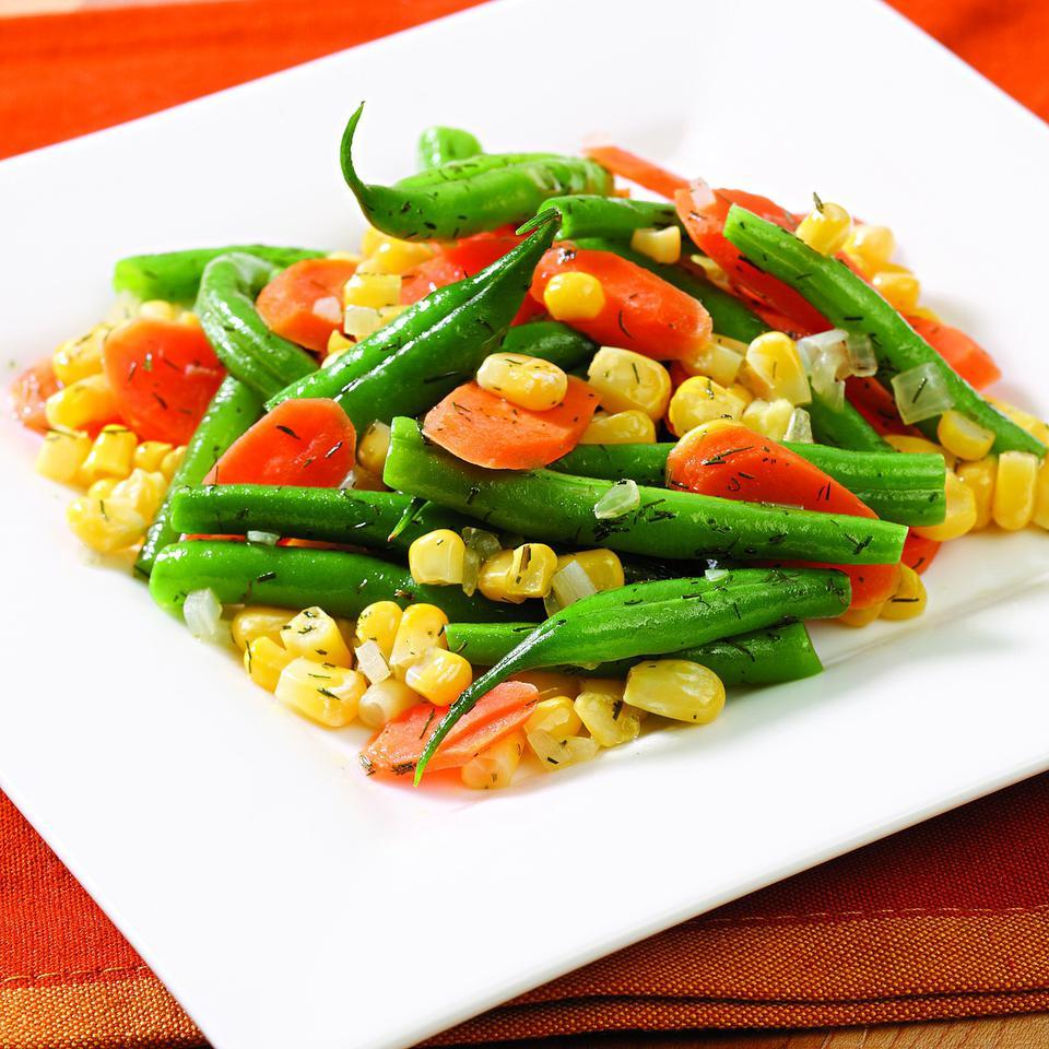 Add a little shallot and dried dill or tarragon to any mixture of frozen vegetables and have a delicious side dish on the table fast. If you'd like to make this recipe with fresh vegetables instead, cut them into bite-size pieces and add a tablespoon or two of water to the skillet when you add the vegetables; adjust the cooking time as needed.Source: EatingWell Magazine, May/June 2010